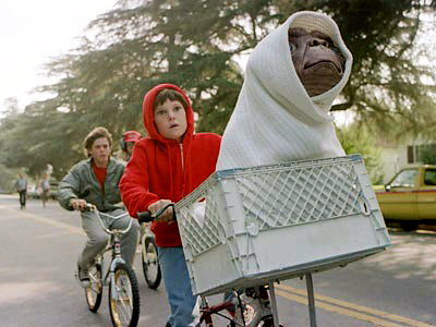 E.T. famous bike scene film flying bikes